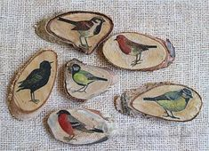Wood Slice Refrigerator Magnets 1 (I like these, but I would probably do different prints.)