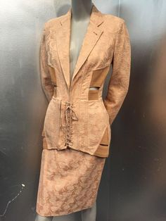 1980s Iconic Jean Paul Gaultier Peach Jacquard Corset-Inspired Skirt Suit | From a collection of rare vintage suits, outfits and ensembles at https://www.1stdibs.com/fashion/clothing/suits-outfits-ensembles/