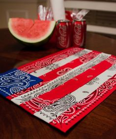 Bandana COASTERS or Placemats - These would also be neat made smaller to use as coasters/mug rugs.