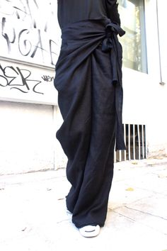 Loose Linen Black Pants / Wide Leg Pants Autumn Extravagant Collection A05034 by Aakasha on Etsy https://www.etsy.com/listing/186176180/loose-linen-black-pants-wide-leg-pants