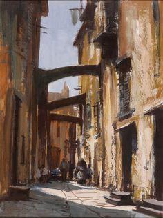 Edward Seago - France - Street in Bonifacio, Corsica