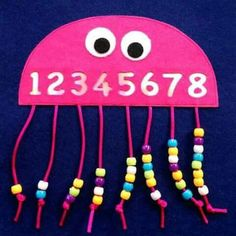 Counting and fine motor skills. Create a jellyfish and add string for threading beads to match the numbers. Could also do letters. Could also create a head and add hair to thread onto.