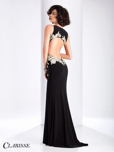 Clarisse Black and White Floral Prom Dress 3174. Purchase this unique black and white floral embroidered prom dress with side cutouts, a sexy slit and open back by clicking the where to buy tab on the Clarisse website! Click through to learn more! COLOR: Black/Ivory SIZE: 00-16