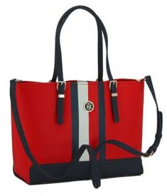 !!!Riementasche Tommy Hilfiger Honey Med rot Blockstreifen Tommy Hilfiger, Honey, Tote Bag, Fashion, Dime Bags, Red Color, Artificial Leather, Blue, Moda