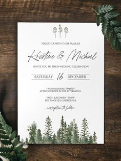 Pine Tree Wedding Invitation Template by Two Brushes Events Forest Wedding Invitations, Wedding Invitation Templates, Pine Tree, Celebrity Weddings, Brushes, Events, Celebrities, Flowers, Etsy