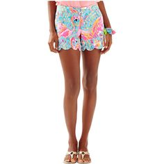 """Lilly Pulitzer 5"""" Buttercup Scallop Hem Short ($68) ❤ liked on Polyvore featuring shorts, multi peel and eat, scallop hem shorts, lilly pulitzer shorts, scalloped shorts, lilly pulitzer and scalloped edge shorts"""