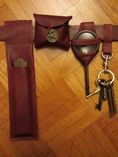 The Steam Wenchs Salon: Simple Steampunk Leather Stitchery - How to make simple cases to attach gadgets to your belt.