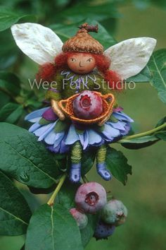 Blueberry Fairy 4 note cards Felt Wee Folk