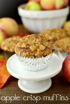 Apple Crisp Muffins are fluffy and sweet topped with that signature apple-crisp topping. | iowagirleats.com