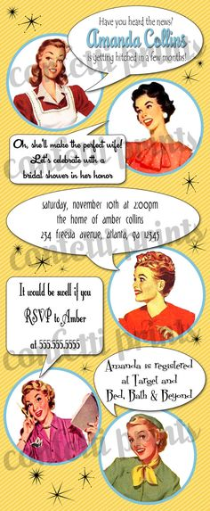 d13a4c9930f9 Retro Housewife Bridal Shower Invitation - GOSSIP GIRLS Printable