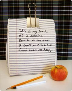 Lunch sack: Thsi made me giggle when I saw it but so super cool I want to make one and use exactly the same words I feel like that about lunch each day ;)