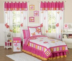 Kids Butterfly Bedding Pink Orange Twin Full/Queen Comforter Sets for Girls