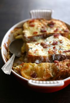 artichoke bread pudding with bacon & gorgonzola