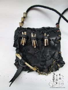 RESERVED Moon Goddess Medicine Pouch with Goat Teeth, Cat Bones and Vile of Bumble Bee Wings