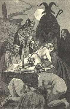 Illustration by Martin van Maele, of a Witches' Sabbath, in the 1911 edition of La Sorciere by Jules Michelet.