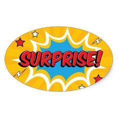 Comic Surprise Burst Oval Sticker