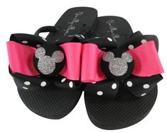 34b3d7e7eaee Hot Pink Disney Flip Flops polka dot Bow  Silver Glitter any color Mickey  Mouse  custom design your own colors  ladies and girls cruise