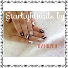 Black and white nails with diamond