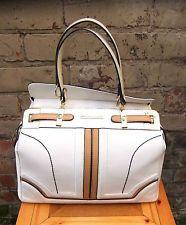 River Island Large White / Tan Color Block Structured Bowler Shoulder Bag