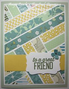 All abloom herringbone - washi style Cute Cards, Diy Cards, Patchwork Cards, Stampin Up Anleitung, Washi Tape Cards, Paper Quilt, Friendship Cards, Card Patterns, Cards For Friends