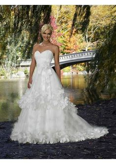 Net One Shoulder Sweetheart A Line Wedding Dress
