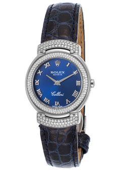 Rolex  Women's Cellini Diamond Navy Blue Crocodile Blue Dial 18K White Gold