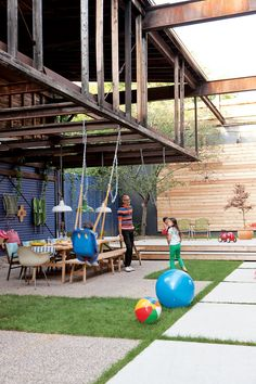 Backyard designed for hosting and children's play