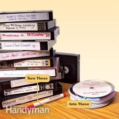 How to Convert Videotapes to DVDs: Reduce that jumble of old VHS tapes to DVDs and vastly reduce the clutter in your entertainment area. You only need an analog-to-digital converter along with a DVD burner in your computer to make this easy transition. http://www.familyhandyman.com/storage-organization/how-to-convert-videotapes-to-dvds/view-all
