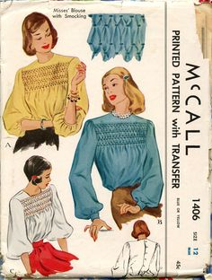 1940s McCall 1406 Vintage Sewing Pattern Misses Blouse with Smocking Bust 30. $20.00, via Etsy.