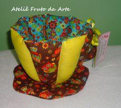 Porta- trecos com tecidos para Patchwork Coleção Coruja Colorida e Alegria