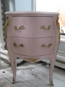 Small Roccoco style chest of drawers painted in Antoinette Chalk Paint with gilding decoration.
