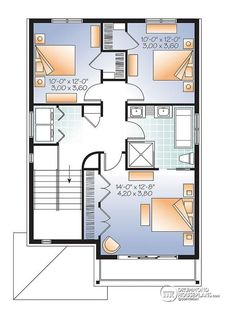 2nd level Contemporary narrow lot house plan, under building parking, family and living room, laundry on 2nd floor - Golden Moon