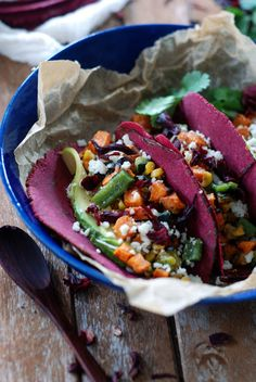 Roasted Veggie Tacos with Hibiscus Tortilla. Vegan/vegetarian