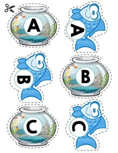 $1   Looking for a letter activity for matching uppercase letters with fish? Got you covered, use these fish & fish bowls to teach little kids about letters!