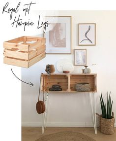 IKEA Hack - build your own shelf with Hairpin Legs - Wohnklamot .- IKEA Hack – Regal mit Hairpin Legs selber bauen – WOHNKLAMOTTE diy ikea hack knagglig crate sideboard with hairpin legs result vib living gold piece - Hacks Diy, Ikea Hacks, Ikea Hack Desk, Ikea Hack Kitchen, Build Your Own Shelves, Ikea Legs, Diy Regal, Diy Casa, Ikea Furniture