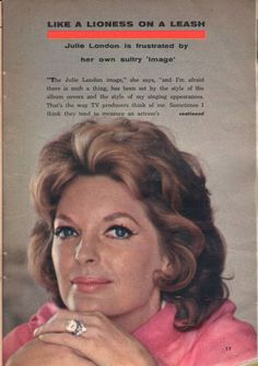 1961 tv article ~ JULIE LONDON Played Nurse Dixie McCall on EMERGENCY ~ 2.5 Page