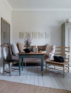 pretty swedish details... painted floors, blue palette, chairs