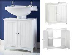 Under Sink Bathroom Cabinet Cupboard Storage Unit Waterproof MDF Basin White New