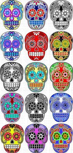 Articles similaires à Colorful Sugar Skull Digital Pictures sur Etsy Hannya Tattoo, Catrina Tattoo, Sugar Scull, Sugar Skull Art, Mexican Skulls, Mexican Folk Art, Caveira Mexicana Tattoo, Day Of The Dead Skull, Sugar Skull Tattoos