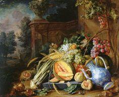 Cornelis de Heem, Fruits et légumes devant une balustrade de pierre, c. 1658. H/cuivre, Städel