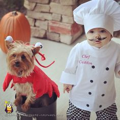 Cute Baby Chef Costume, Lobster Dog Costume, and Mom and Dad Chefs.