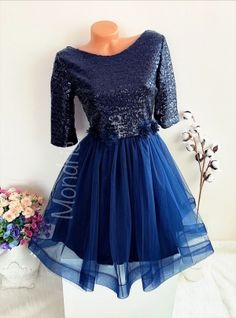 Rochie ocazie ieftina bleumarin cu fusta din tulle si corset paietat - Rochii - Rochii banchet Formal Dresses, Skirts, Fashion, Tulle, Dresses For Formal, Moda, Formal Gowns, Fashion Styles, Skirt