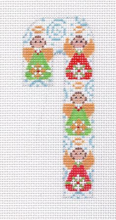 """4 1/4"""" Mini Angel Candy Cane Hand Painted Needlepoint Canvas"""