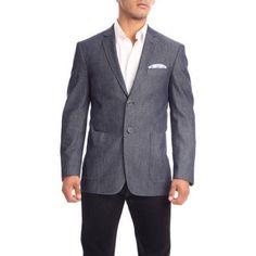 Verno Moretti Men's Dark Chambray Slim Fit Italian Styled Blazer, Size: 48R, Blue