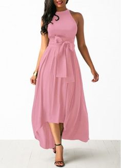 Belted Pink High Low Dress and Cardigan   -  #maxidress #maxidressBoho #maxidressStrapless #maxidressStreetStyle #maxidressSummer #maxidressVerano #maxidresses #maxidressesonline