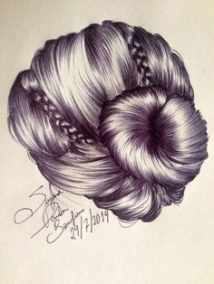 Reproduction of hair drawing handmade art artwork bun braids Suzanna Paulla Bomfim 2014