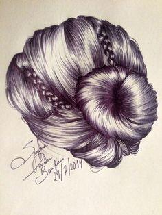 Reproduction of hair drawing handmade art artwork bun braids Suzanna Paulla Bomfim 2014