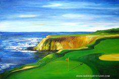 Golf course art print on canvas - Famous Pebble beach golf course- Gift  for men-. #bestofEtsy #Tangoart