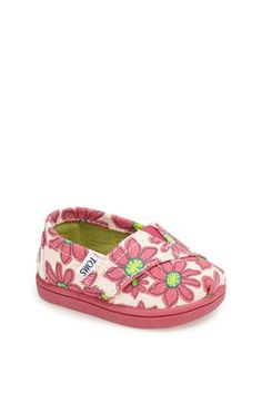 TOMS 'Classic Tiny - Pink Daisy' Slip-On (Baby, Walker