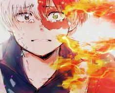 Todoroki Shouto, sad, crying, Quirk, fire; My Hero Academia